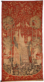 A French tapestry panel of two children and another Gothic style printed tapestry late 19th/first half 20th century