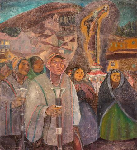 Jose Sabogal (1888-1959) Procession, 1932 44 1/2 x 40 9/16in. (113 x 103cm)