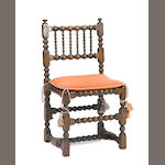 A Charles II oak side chair 17th century