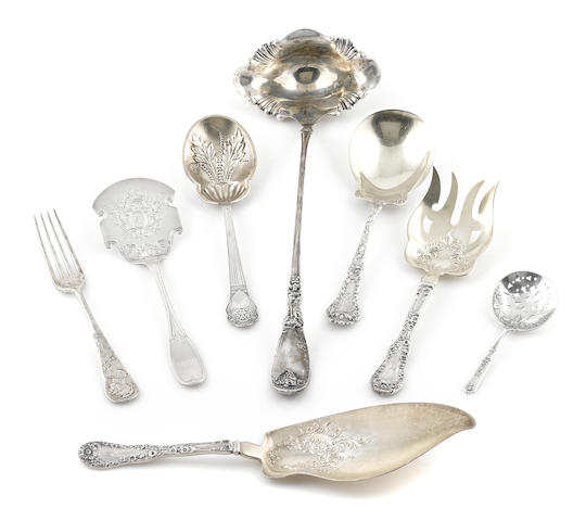 A group of eight  sterling silver serving pieces Early 20th century