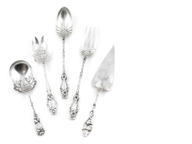 A group of five American  re-cast sterling silver Art Nouveau style serving pieces late 20th century