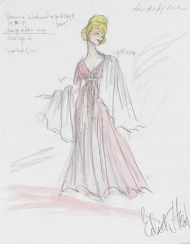 An Edith Head Studios Joanne Woodward costume sketch from A New Kind of Love