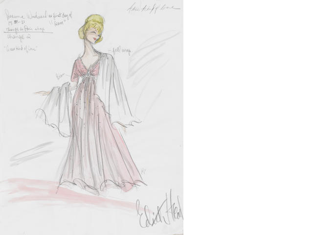 A Joanne Woodward costume sketch from A New Kind of Love
