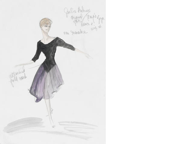A Julie Andrews costume sketch from The Lucy Show