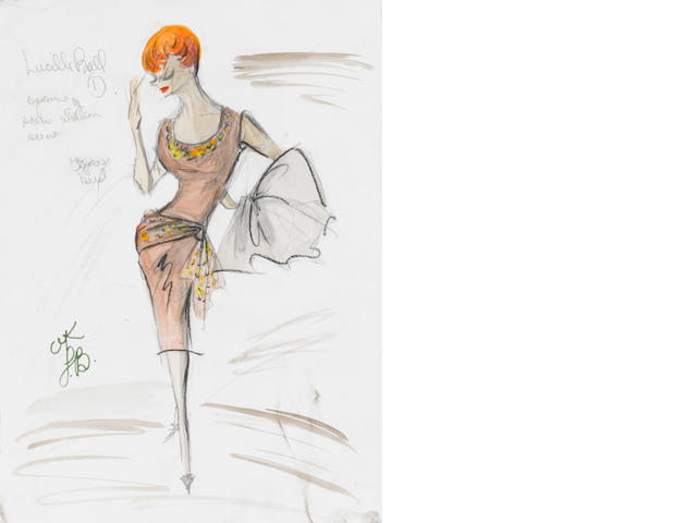 A Lucille Ball costume sketch from The Lucy Show