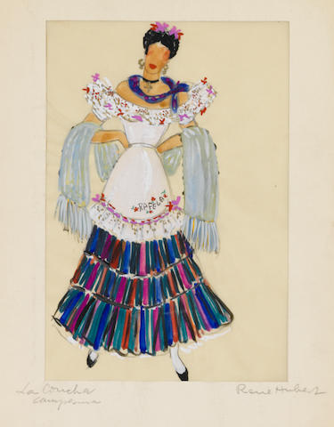 A Linda Darnell costume sketch from My Darling Clementine