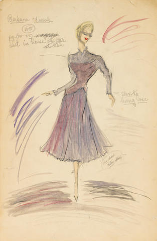 An Edith Head Studios Barbara Nichols costume sketch