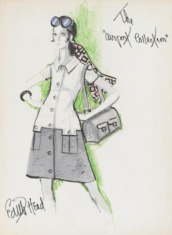 "An Edith Head sketch for ""The Airport Collection"", circa 1970"