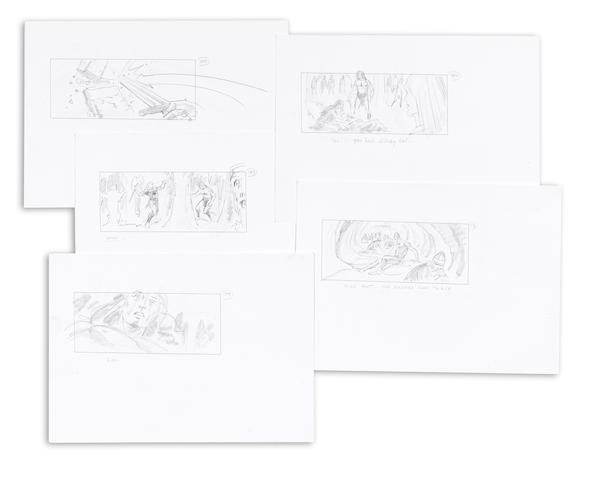 A group of Kull the Conqueror storyboards