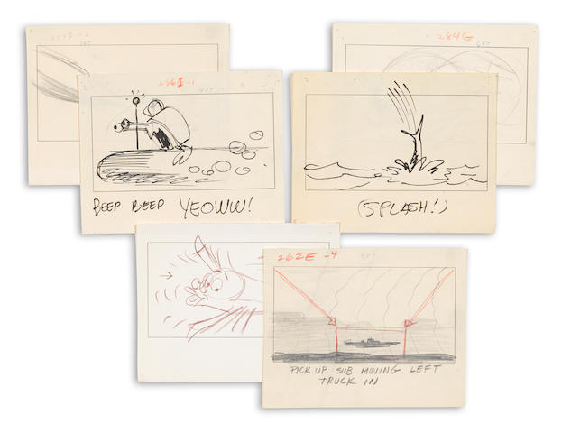 A group of six storyboards from The Incredible Mr. Limpet