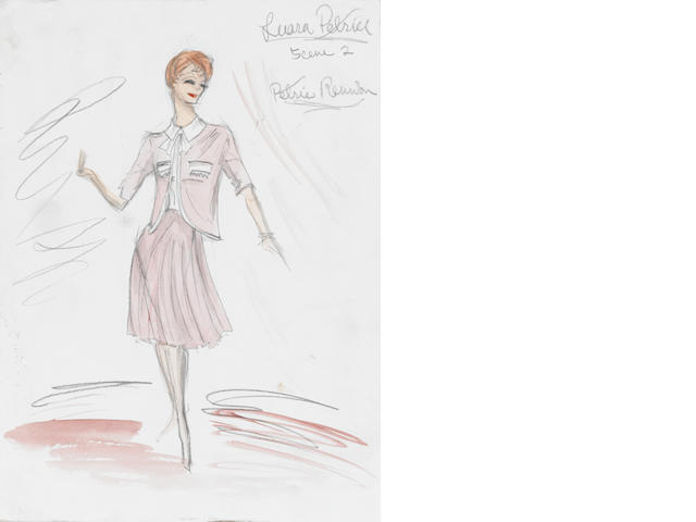 A Mary Tyler Moore costume sketch from The Dick Van Dyke Show