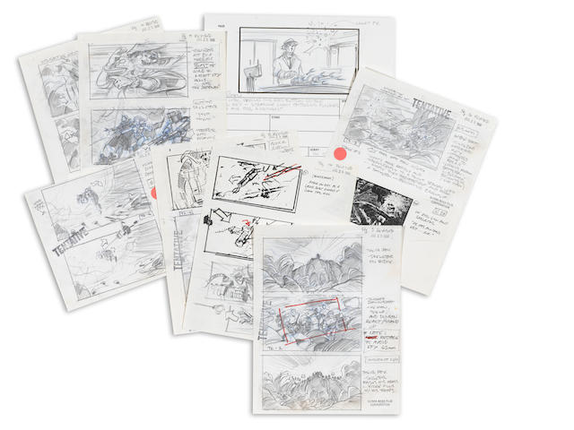 A GROUP OF EIGHT STORYBOARDS FROM THE MASTERS OF THE UNIVERSE