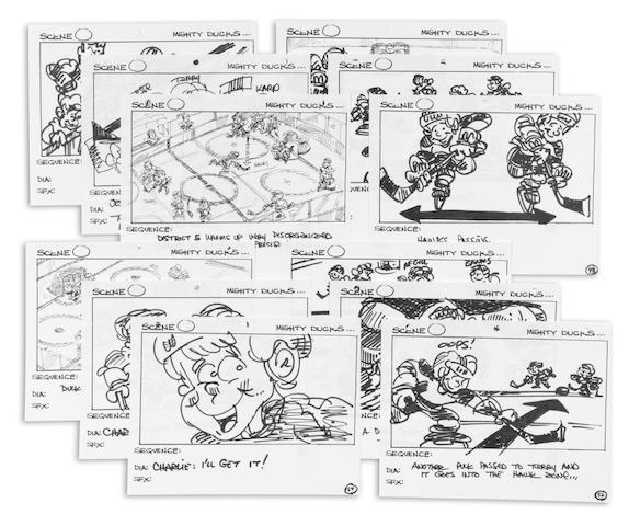 A group of storyboards from The Mighty Ducks