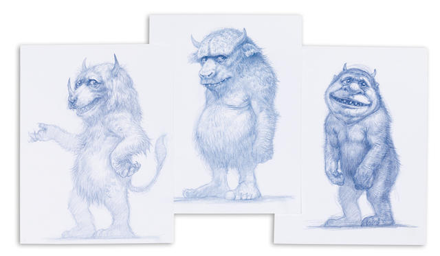 A group of three Where the Wild Things Are creature sketches