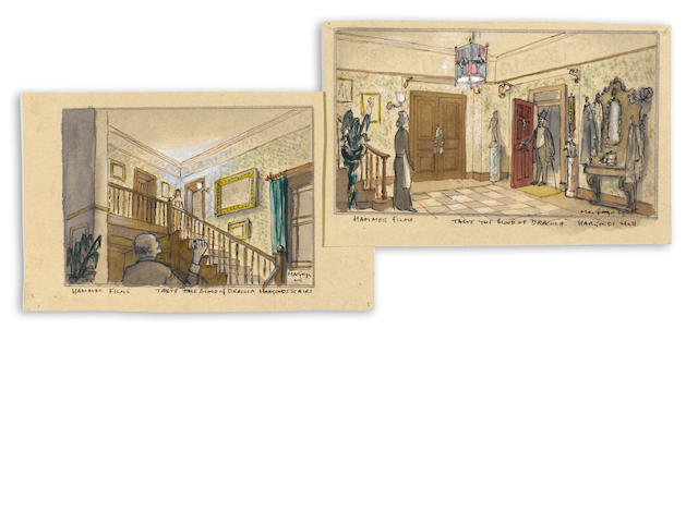 TWO PRODUCTION ART PIECES FROM TASTE THE BLOOD OF DRACULA