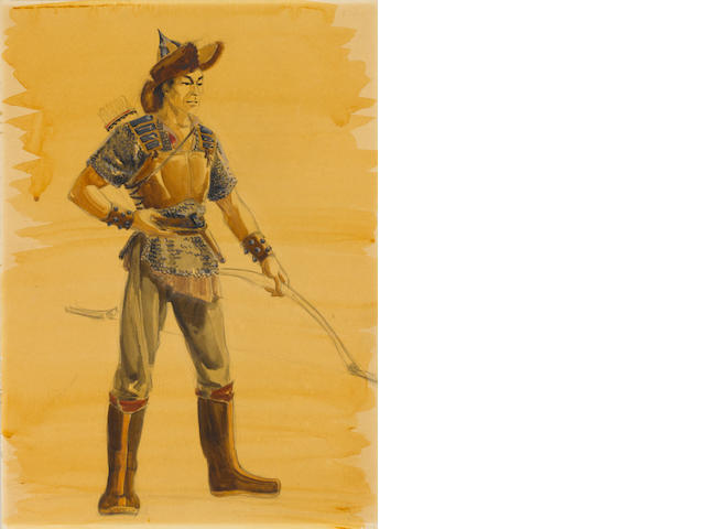 A John Wayne costume sketch from The Conquerer