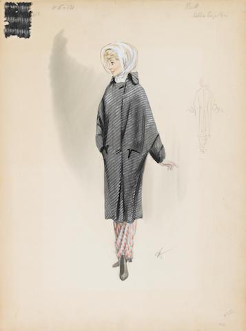 A Debbie Reynolds costume sketch