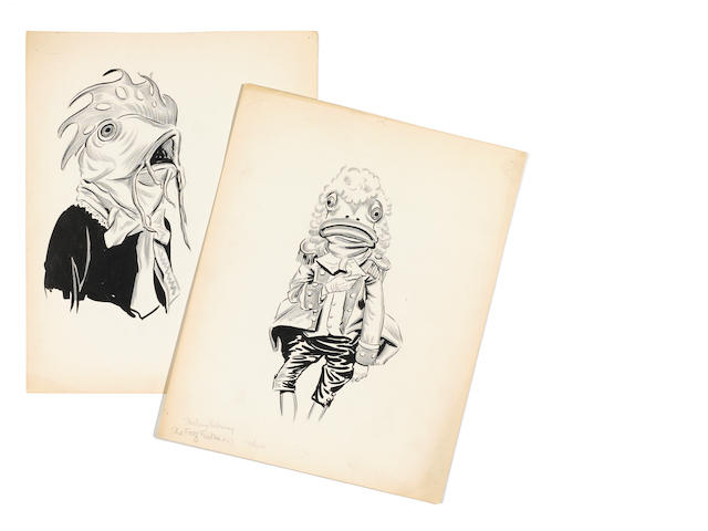 A pair of Alice in Wonderland costume sketches