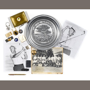 BOX OF PINS, KEY CHAINS, ETC., PRO-AM PEWTER PLATE, GOLF PORTRAIT, 1963 FOLDER. 1962 GOLD BOX.