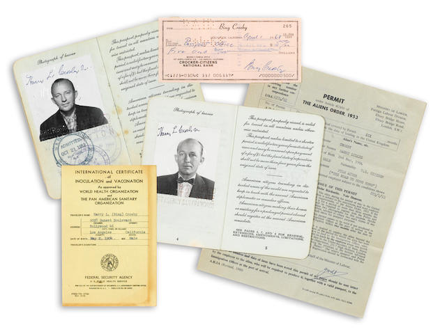 A group of Bing Crosby passports and travel documents