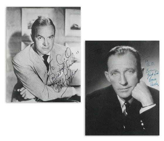 BING CROSBY AND BOB HOPE SIGNED PHOTOS, IN ONE FRAME.