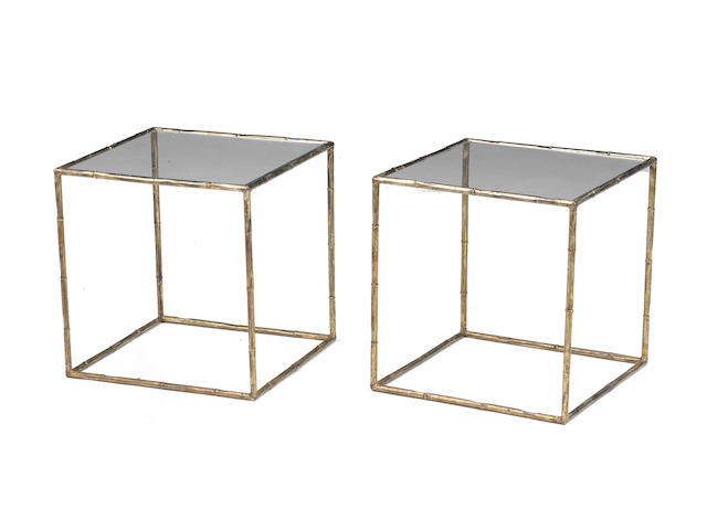 A pair of parcel gilt metal and glass faux bamboo side tables second half 20th century