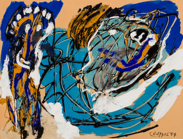 Karel Appel (1929-1994) Untitled, 1957 19 3/4 x 25 5/8in. (50.1 x 65.1cm)