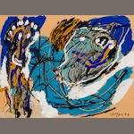 Karel Appel (Dutch, 1921-2006) Untitled, 1957 19 3/4 x 25 5/8in. (50.1 x 65.1cm)
