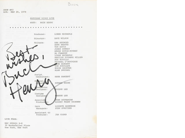 A Buck Henry signed Saturday Night Live script, 1978