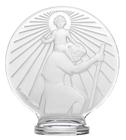 A St. Christopher clear glass mascot, by Rene Lalique, French, 1928,