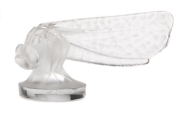 A petite 'Libellule'  frosted glass mascot by René Lalique, French, 1928,