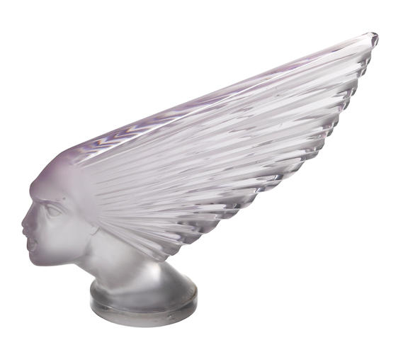 A rare 'Victoire' glass mascot with an amathist tint by René Lalique, French, 1928,