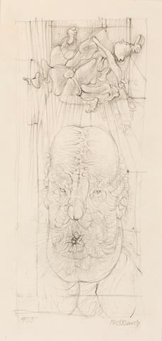 Hans Bellmer (1902-1975) Tête de homme 12 x 8 1/8in. (30.5 x 20.5cm)