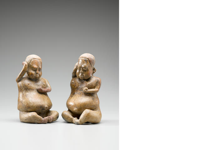Jalisco Seated Couple,<BR />Protoclassic, ca. 100 B.C. - A.D. 250