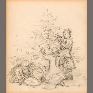 Pierre Bonnard (French, 1867-1947) Christmas scene study for postcard 8 x 6 1/2in. (20.3 x 16.5cm)
