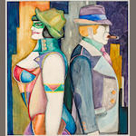 Richard Lindner (1901-1978) Untitled (two figures), 1968 30 x 20in.