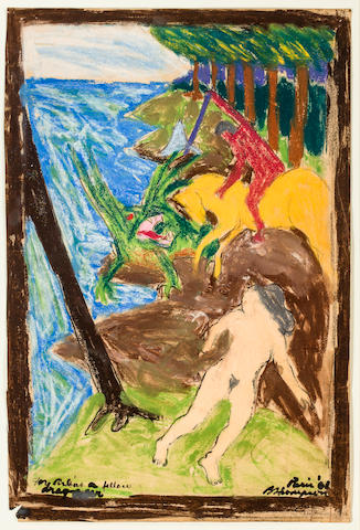 Bob Thompson (1937-1966) Study for St. George and the Dragon, 1961 21 x 14in. (53.3 x 35.5cm)