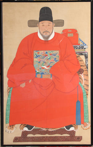 A Ming style portrait of a seated official China, 20th century