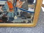 A group of three reverse-painted mirror glass panels 19th century