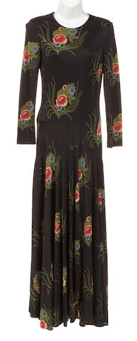 A Diane von Furstenberg long black and floral patterned dress