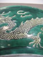 A green and yellow glazed dragon dish Kangxi mark, 19th century