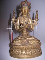A Tibetan gilt copper alloy figure of Vajradhara 17th/18th century