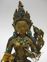 A gilt copper alloy figure of Syamatara 16th century