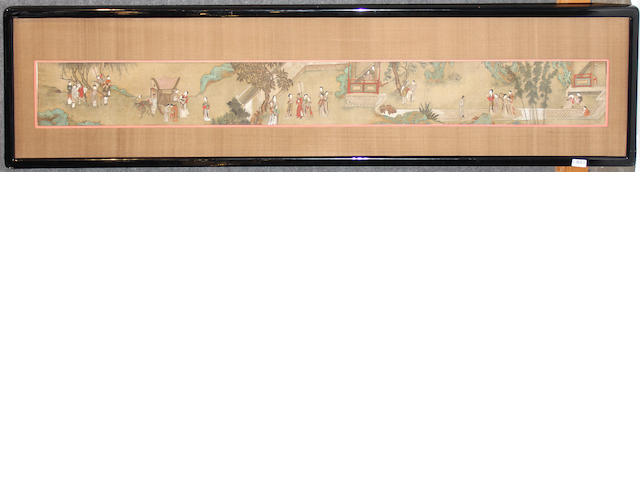 A Chinese hand scroll imprinted and framed