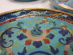 An assembled group of turquoise ground Canton enameled metal dishes and cups Late Qing dynasty