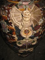 A massive Satsuma porcelain vase and footed base<BR />20th century