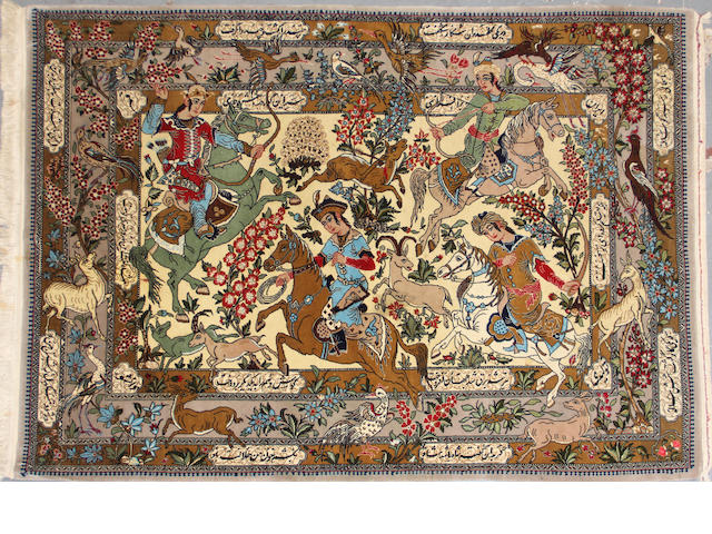 A Qum pictorial rug size approximately 4ft. 5in. x 6ft. 1in.