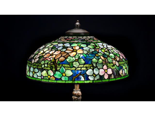 A Tiffany Studios Favrile glass and bronze Dogwood table lamp 1899-1918