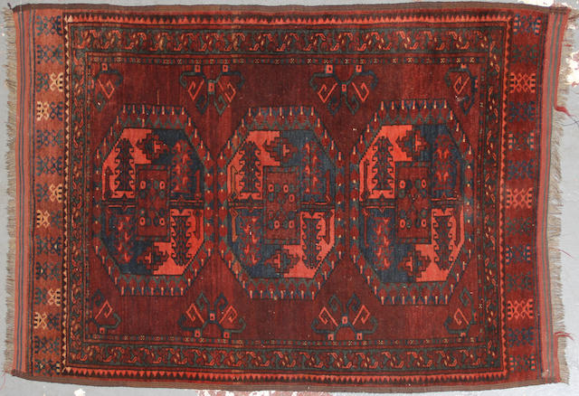 A Afghan rug size approximately 3ft. x 4ft. 10in.