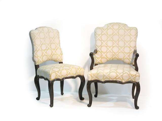 A set of eight Louis XV style dining chairs 20th century